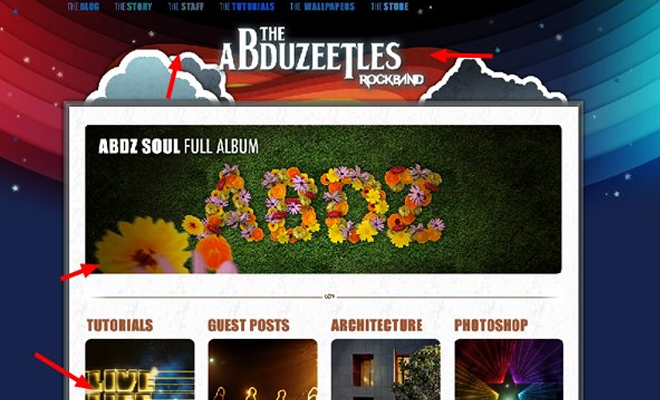 abduzeedo abduzeetles rock band website tutorial fireworks