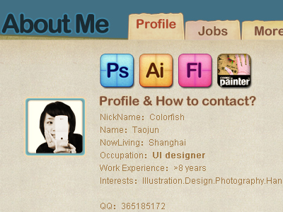 web design layout about me page
