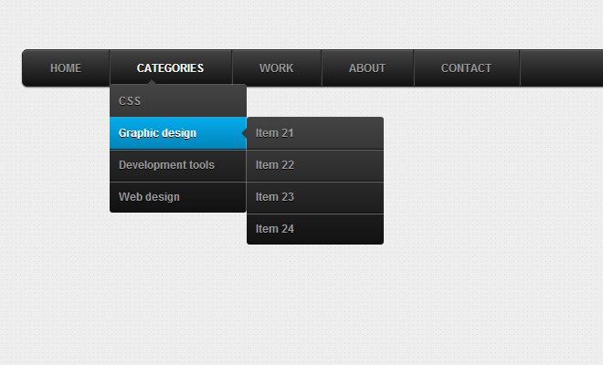 dark dropdown animated css3 design navigation
