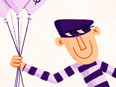 dribbble illustration balloon thief burglar