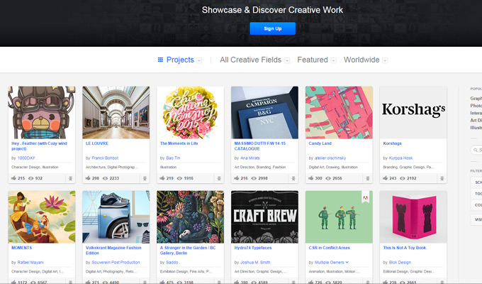 behance homepage design
