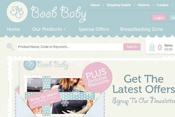 New Baby webshop equipment breast feeding