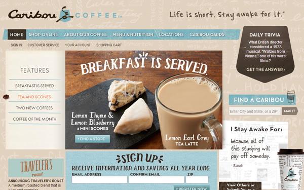 caribou coffee website webpage cafe