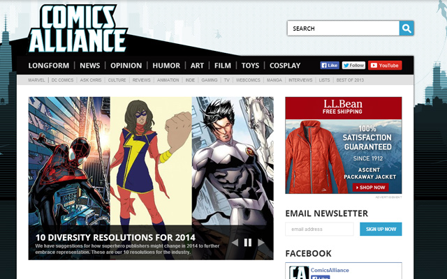 comics alliance website layout 2014