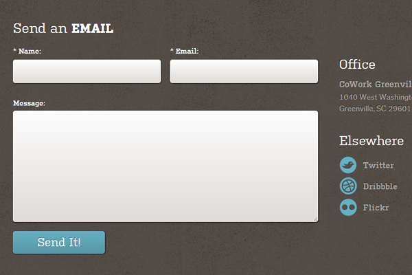 inspirational contact form webdesign layout