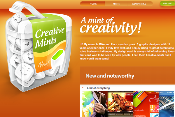 Creative Mints website orange layout design