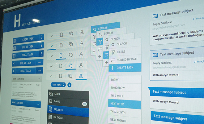 photoshop mockup blue interface application