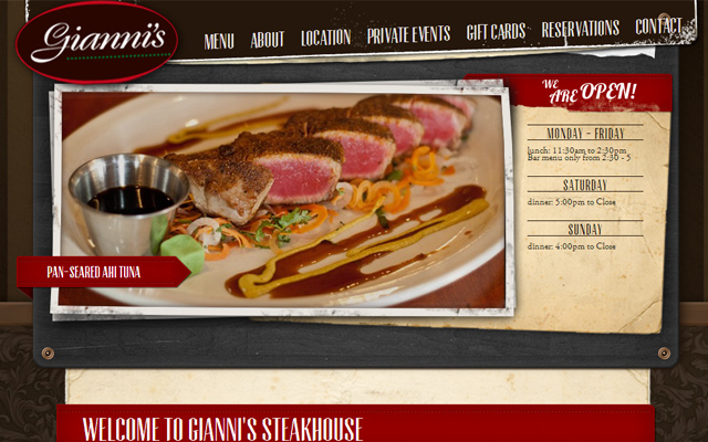 gianni steakhouse website dark layout