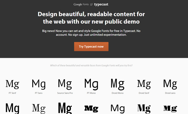 typecast google fonts preview webapp