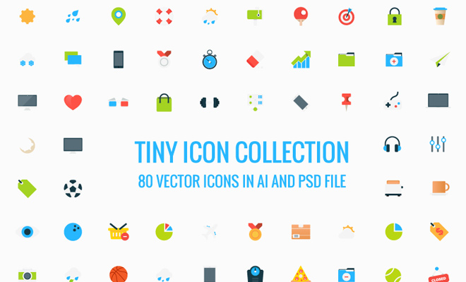 80 tiny icons vectors freebie