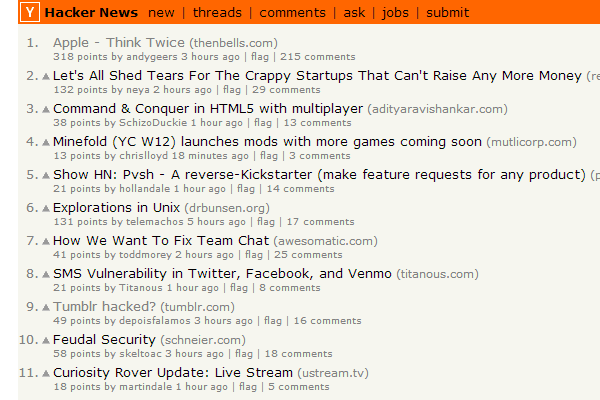 Startups YCombinator incubator news frontpage