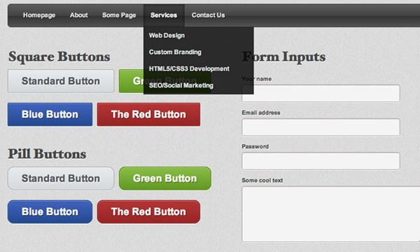 Custom solid user interface web design css3 buttons forms
