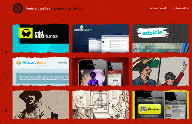 chicago red grunge texture portfolio website layout