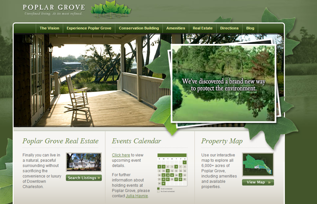 charleston grove website layout green design