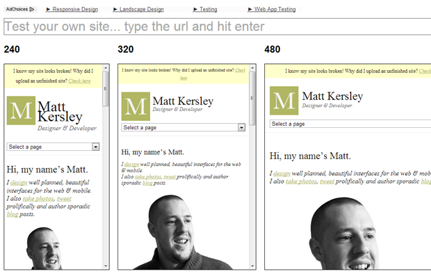 responsive design tools layout testing