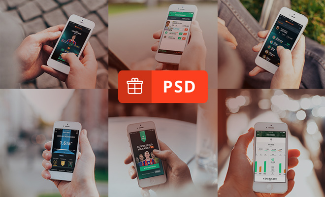 six photorealistic iphone5 mockups free