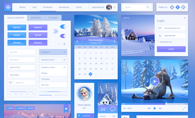 snowflake ui kit sketch freebie