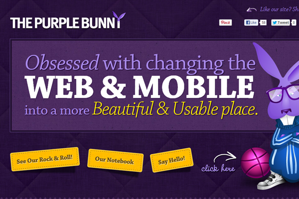 purple bunny website layout design