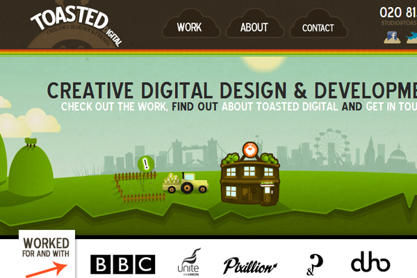 toasted digital website illustrations layout