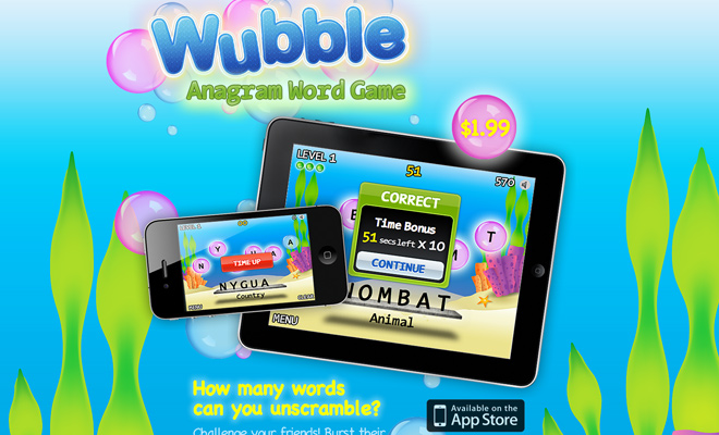 wubble game ios app landing page
