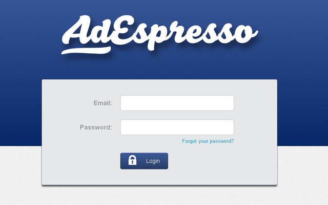 adespresso blue login form webpage layout