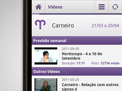 Android mobile videos listing app purple layout