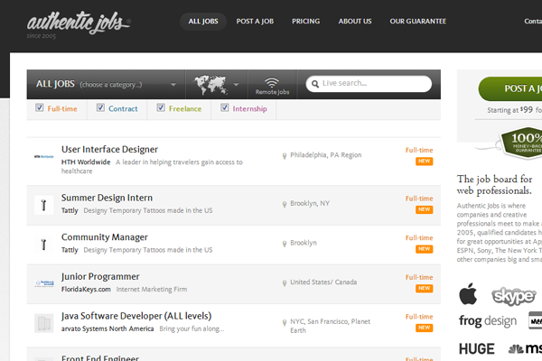 authentic jobs board website design interface