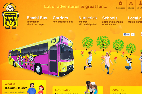 Bambi Bus orange layout website design