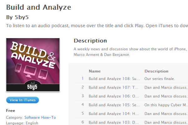 build analyze podcast itunes web design