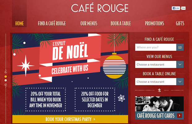 red coffee cafe rouge website design