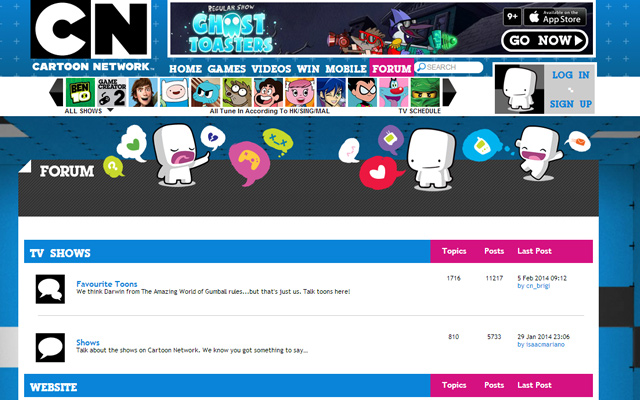 cn cartoon network asia forum interface