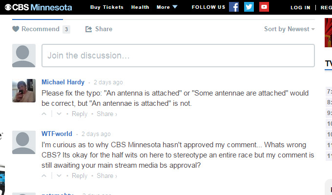 cbs news website comments area
