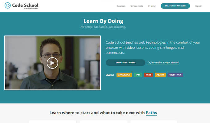code school website learning