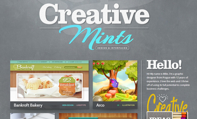 mike creative mints website header design