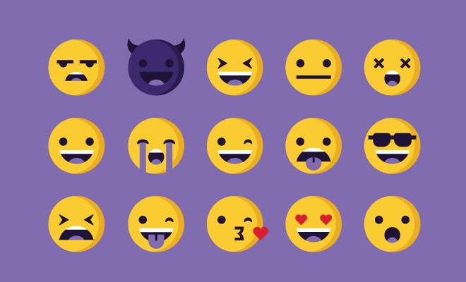 clean simple feelings emoticons