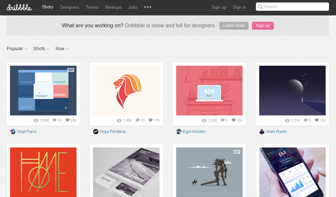dribbble homepage design network