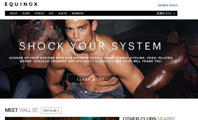 equinox clubs workout exercise website clean layout