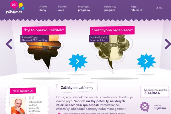 fancy purple color scheme website design zazitky.cz