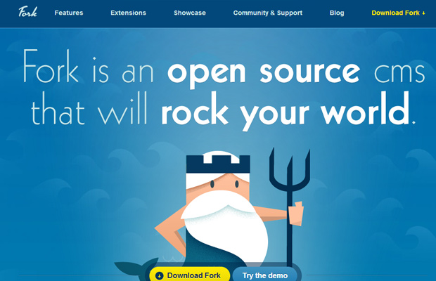 blue website fork cms layout inspiring design