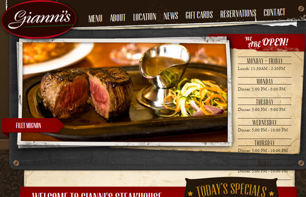 giannis steakhouse website brown design texture