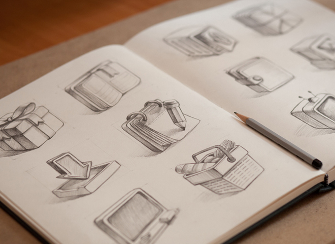 sketch icon set sketchbook design