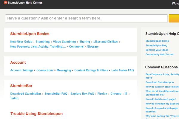 StumbleUpon website FAQ support layout design
