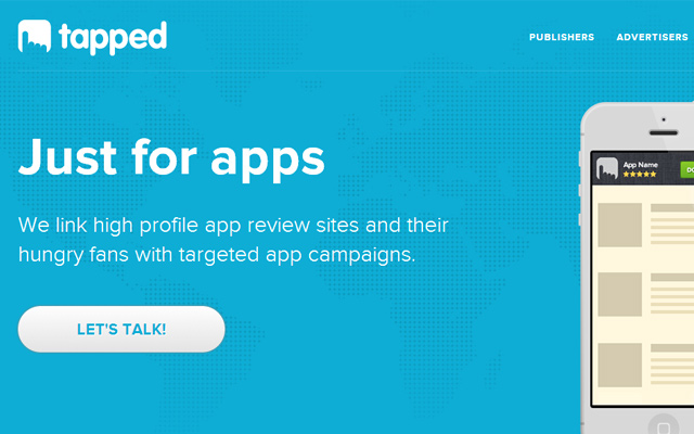 blue tapped mobile ios app landing page