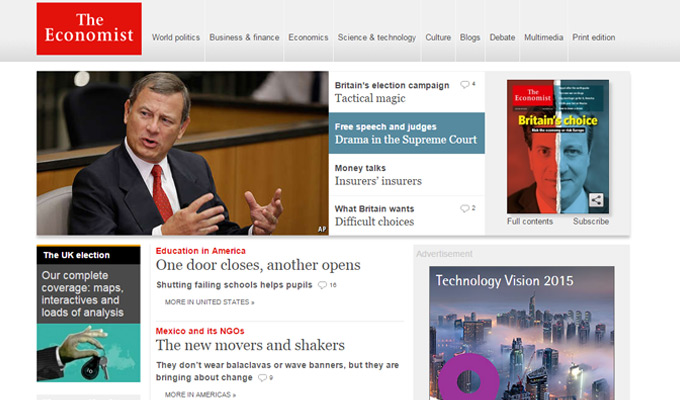 the economist website design
