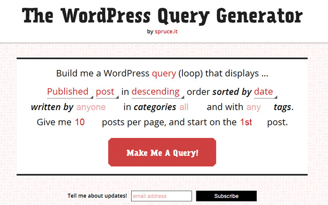 online webapp wordpress query generator website