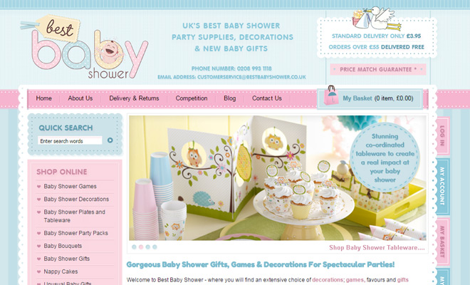 best baby shower website pastel