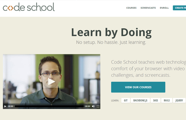 codeschool website layout landing homagage