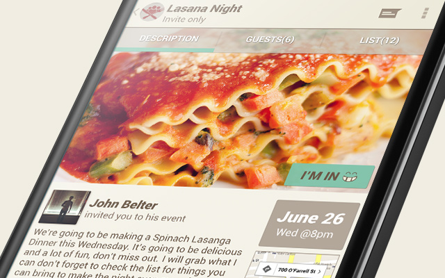 dinner party event dribbble ui android shot