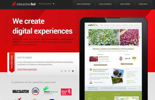 red website interactive kent design interface