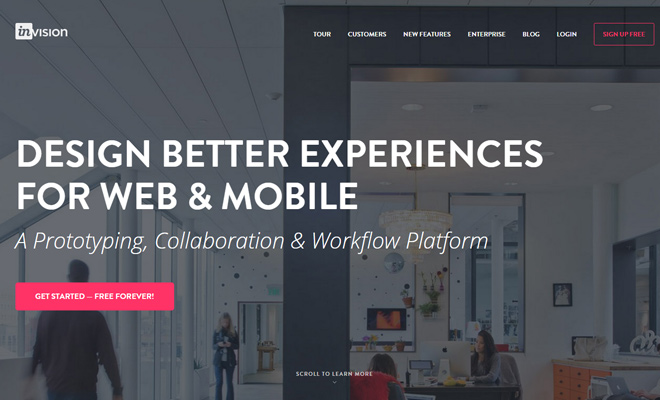 invision app website design prototyping